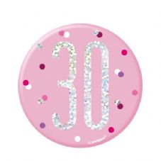 Pink Glitz '30' Birthday Badge
